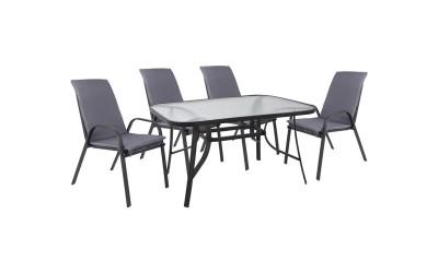 Градински комплект HM10567.01 - маса и четири стола с възглавници