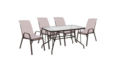 Градински комплект HM10568.02 - маса и четири стола с възглавници