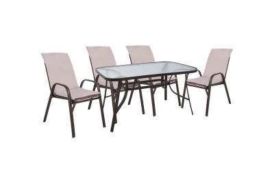 Градински комплект HM10569.02 - маса и четири стола с възглавници