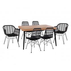 Градински комплект Allegra Wicker HM10516 - маса и шест стола