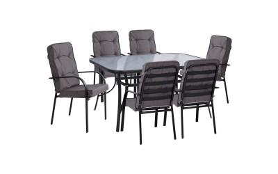 Градински комплект HM10561.01 - маса и шест стола с възглавници