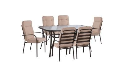 Градински комплект HM10564.02 - маса и шест стола с възглавници