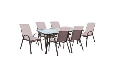 Градински комплект HM10571.02 - маса и шест стола с възглавници