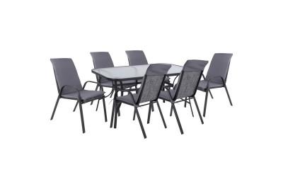 Градински комплект HM10572.01 - маса и шест стола с възглавници