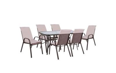 Градински комплект HM10572.02 - маса и шест стола с възглавници