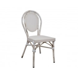 Стол Bamboo Look HM5109 - Бял с патина ефект