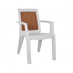 Стол HM5593.01 - Бял с дървесен акцент