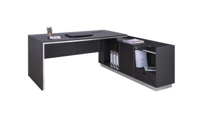 Офис бюро с шкаф Rosewood HM2086R - десен ъгъл - Венге/Графит