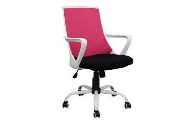Офис стол HM1053.05 - Черно/Розово/Бяло с подлакътници
