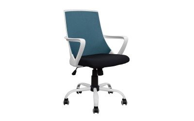 Офис стол HM1053.06 - Черно/Синьо/Бяло с подлакътници