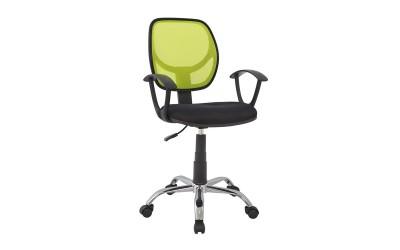 Детски стол за бюро HM1082.03 - Черен/Електриково зелен с подлакътници