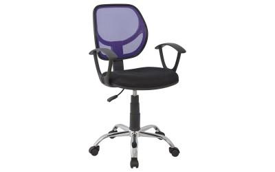 Детски стол за бюро HM1082.04 - Черен/Лилав с подлакътници