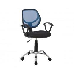 Детски стол за бюро HM1082.06 - Черен/Син с подлакътници