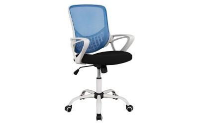 Офис стол с подлакътници HM1134.08 - Черен/ Бял/ Син