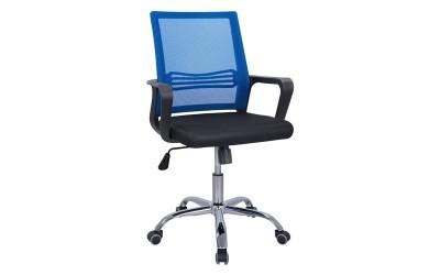 Офис стол с подлакътници HM1148.08 - Черен/ Син