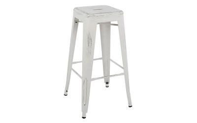 Метален бар стол Melita HM0020.05 - Бял с патина ефект