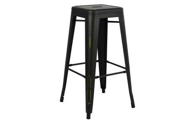 Метален бар стол Melita HM0020.40 - Черен с патина ефект