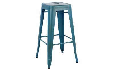 Метален бар стол Melita HM0020.88 - Син с патина ефект