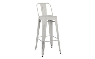 Метален бар стол Melita HM0088.05 - Бял с патина ефект