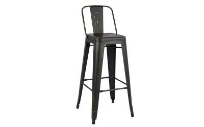 Метален бар стол Melita HM0088.40 - Черен с патина ефект