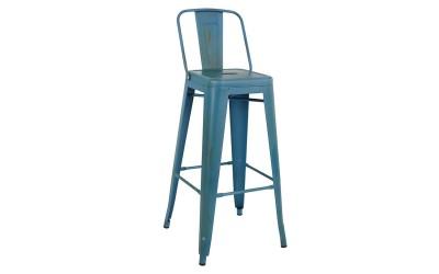 Метален бар стол Melita HM0088.88 - Син с патина ефект