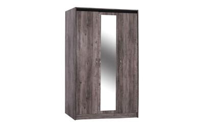 Трикрилен гардероб с огледало Jacintha HM2275 - Пепеляво сив