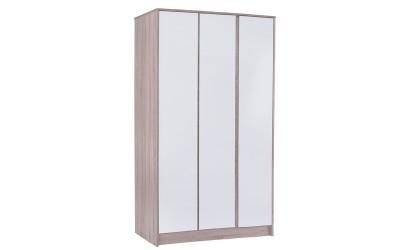 Трикрилен гардероб Karla HM2280 - Бяло/Сонома