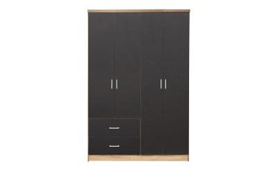 Четирикрилен гардероб HM339.04 - Сиво/Сонома
