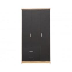 Трикрилен гардероб HM340.04 - Сиво/Сонома