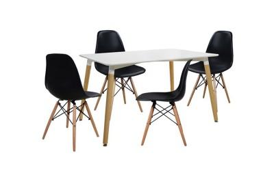 Комплект трапезна маса с четири стола Tonia HM10080.02 - Бял/Черен
