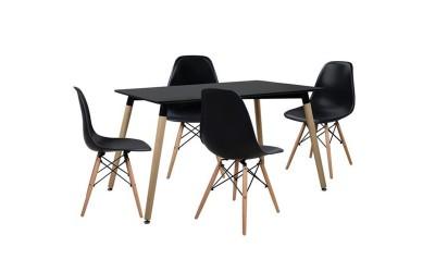 Комплект трапезна маса с четири стола Tonia HM10225 - Черен
