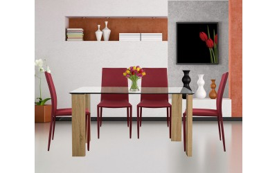 Комплект маса Morgan с четири стола Teta HM10026.04 - Стъкло/Бордо