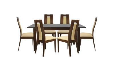Комплект разтегателна маса с шест стола HM10057 - Орех