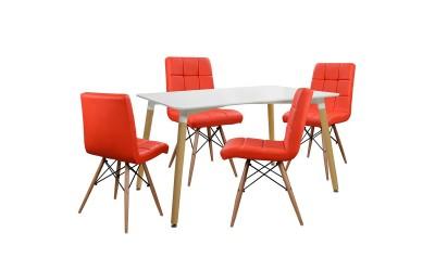 Комплект трапезна маса с четири стола Rosa HM10077.04 - Бял/Червен