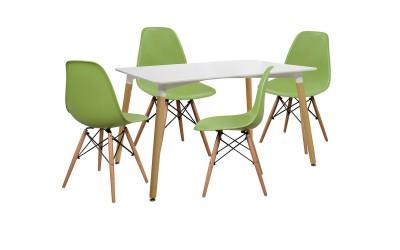 Комплект трапезна маса с четири стола Tonia HM10080.10 - Бял/Зелен