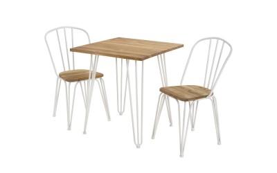 Комплект маса с два стола HM10129 - Натурал/Бяло