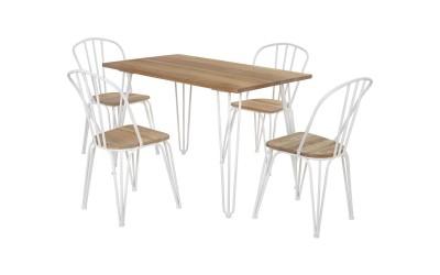 Комплект маса с четири стола HM10130 - Натурал/Бяло