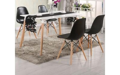 Комплект трапезна маса с четири стола Twist HM10192  - Бял/Черен