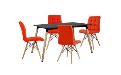Комплект трапезна маса с четири стола HM10221 - Черно/Червено