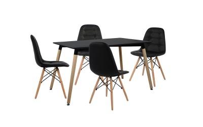 Комплект трапезна маса с четири стола HM10223 - Черно/Черно