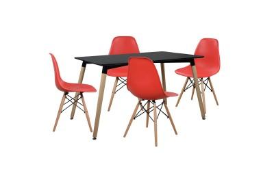 Комплект трапезна маса с четири стола HM10226 - Черно/Червено