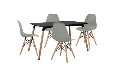 Комплект трапезна маса с четири стола HM10229 - Черно/Сиво