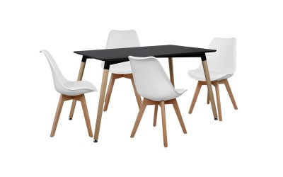 Комплект трапезна маса с четири стола HM10230 - Черно/Бяло