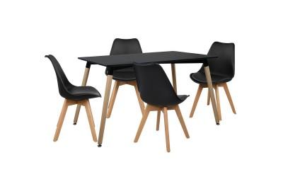 Комплект трапезна маса с четири стола HM10231 - Черно/Черно