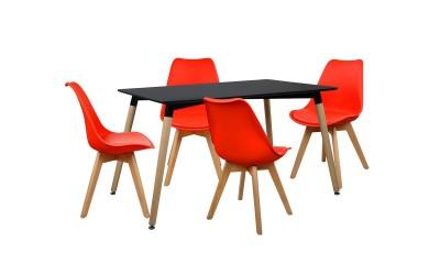 Комплект трапезна маса с четири стола HM10232 - Черно/Червено