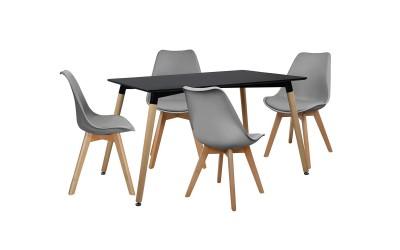 Комплект трапезна маса с четири стола HM10233 - Черно/Сиво