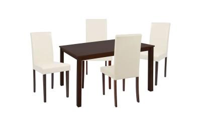 Комплект дървени маса и четири стола Selene HM10256 - Орех/Крем