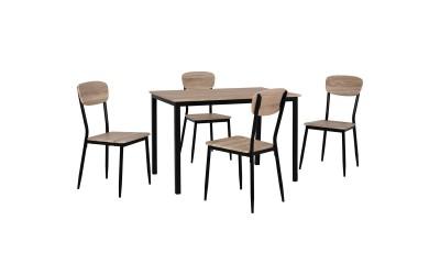 Комплект трапезна маса с четири стола HM10339 - Сонома/Черно