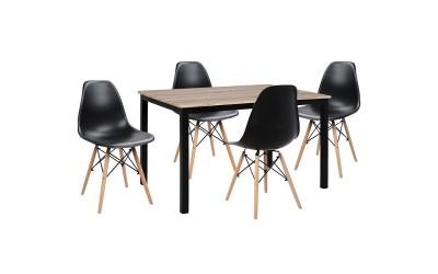 Комплект трапезна маса с четири стола HM10340 - Сонома/Черно