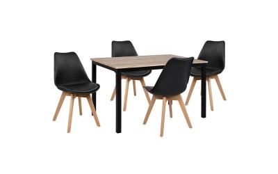 Комплект трапезна маса с четири стола HM10341 - Сонома/Черно
